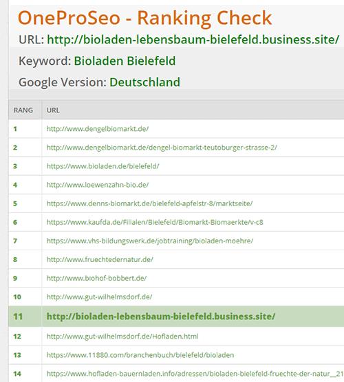One-Pro-SEO-Ranking 'Bioladen Bielefeld'